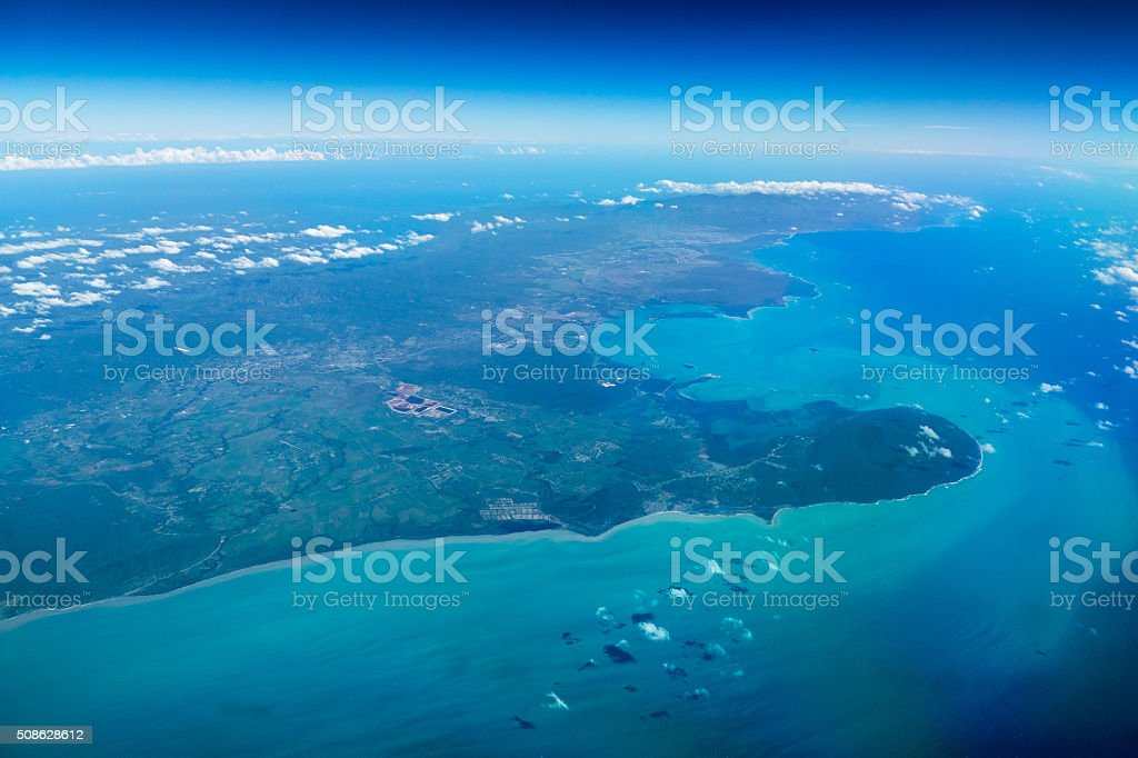 Blue caribbean, Kingston Jamaica. stock photo