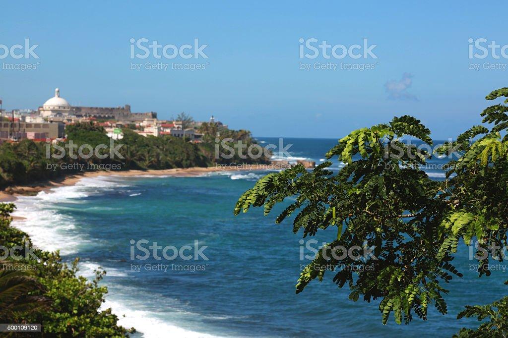 Blue caribbean sea stock photo