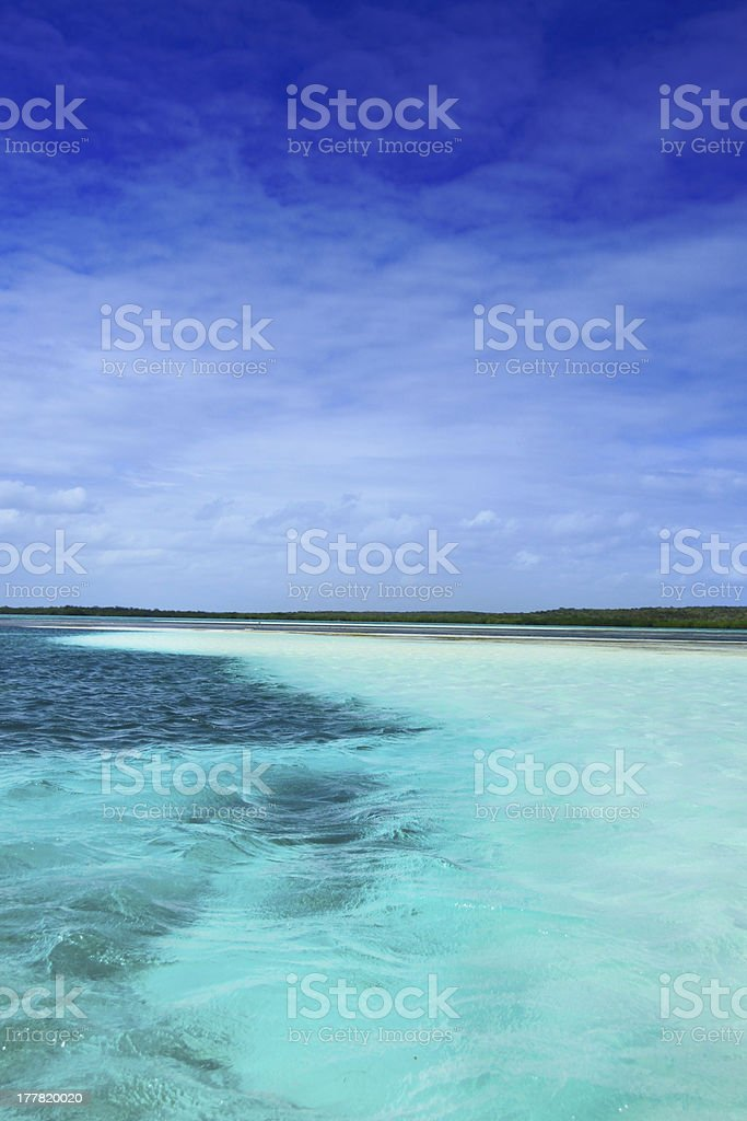 Blue caribbean water on a sand bank stock photo