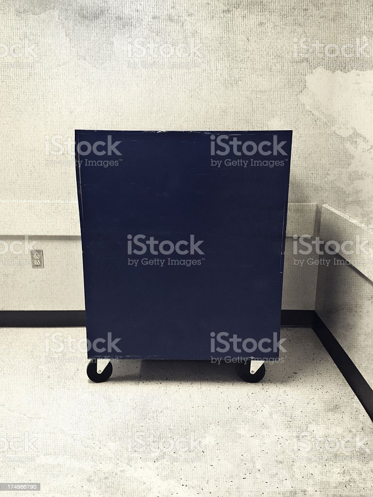 Blue Cart in a Corridor royalty-free stock photo