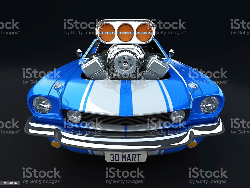 Blue Cartoon Muscle Car on Dark Background stock photo