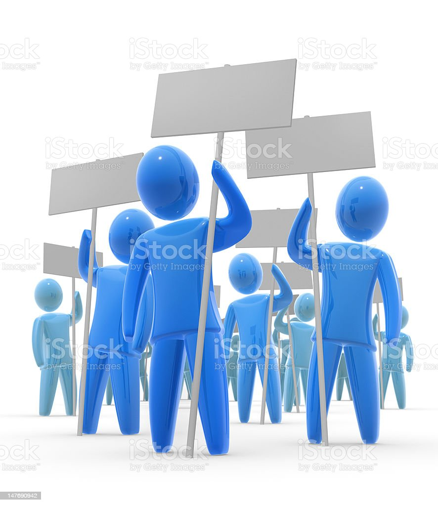 Blue cartoon people holding up blank placards royalty-free stock photo