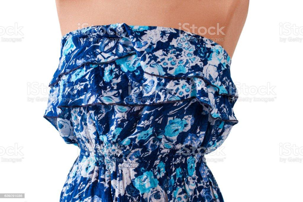 Blue casual sleeveless dress. stock photo