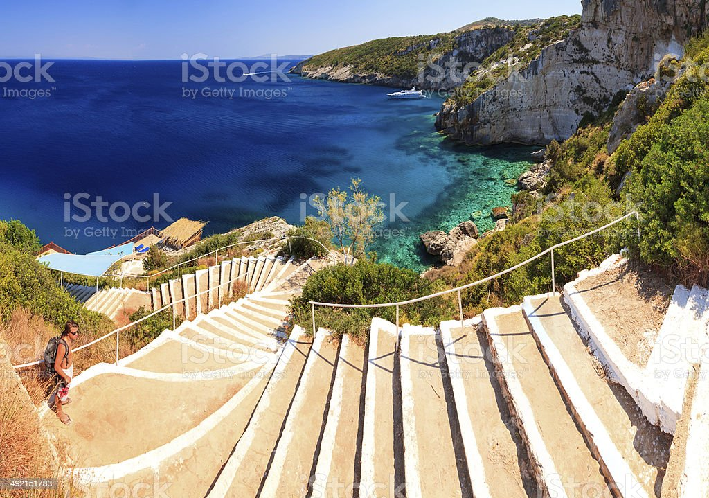 Blue caves stairs stock photo