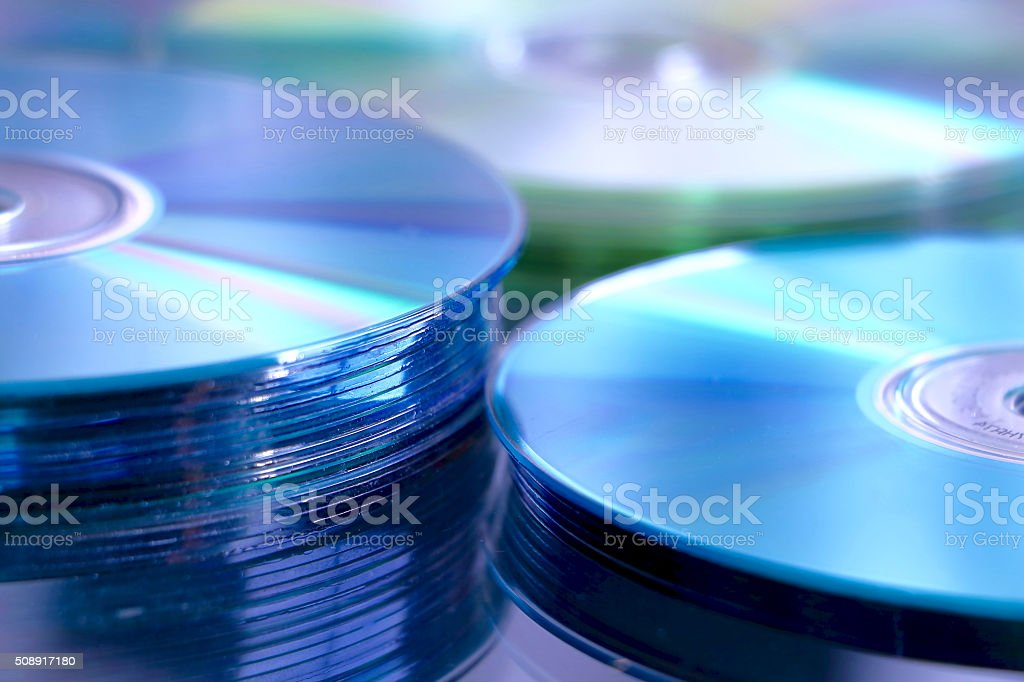 Blue cd stack stock photo