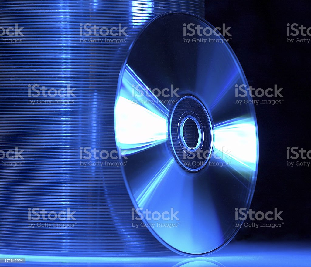 Blue CD's stock photo