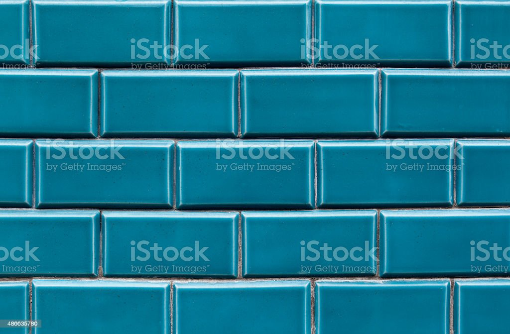 Blue ceramic brick tile stock photo