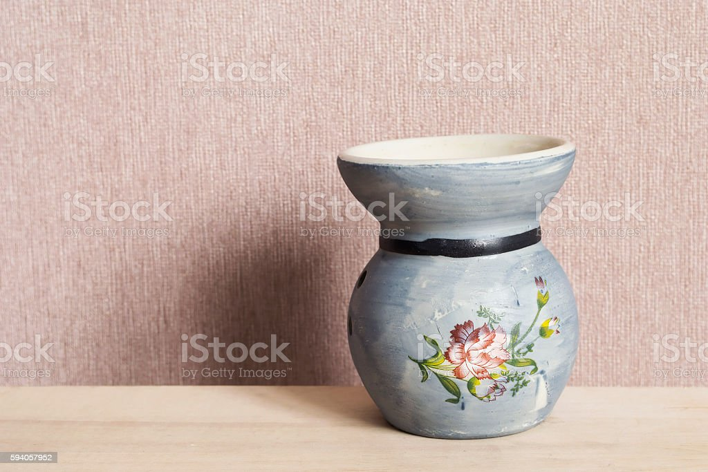 Blue ceramic candlestick stock photo