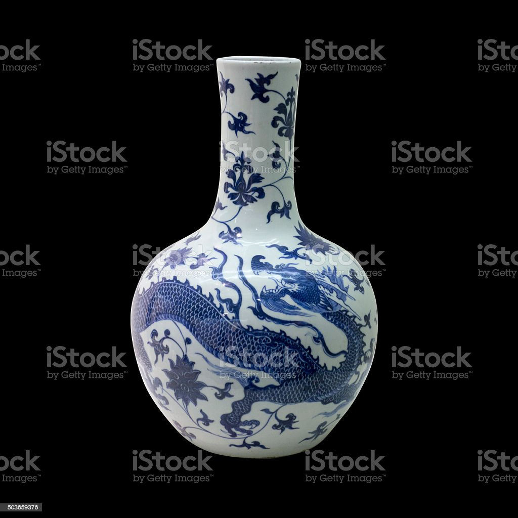blue ceramic porcelain vase on isolated black background stock photo