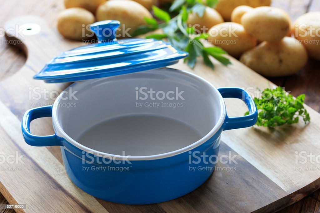 Blue ceramic pot stock photo