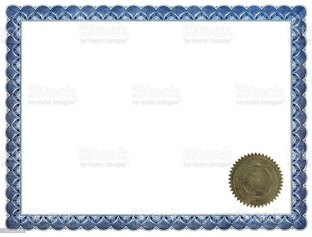 Blue certificate with gold seal stock photo