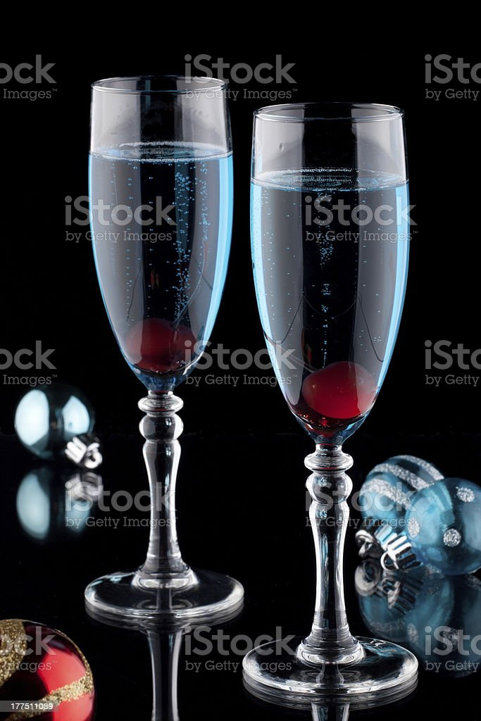 Blue Champagne Cocktail royalty-free stock photo