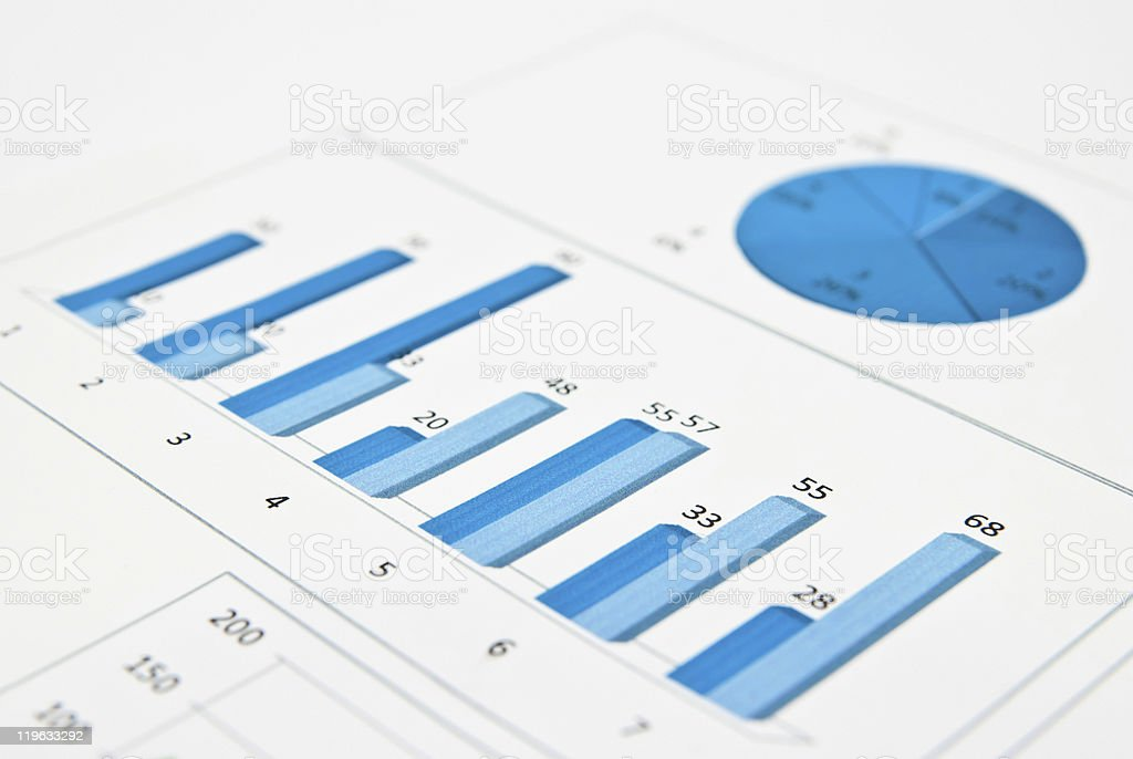 Blue chart and numbers stock photo