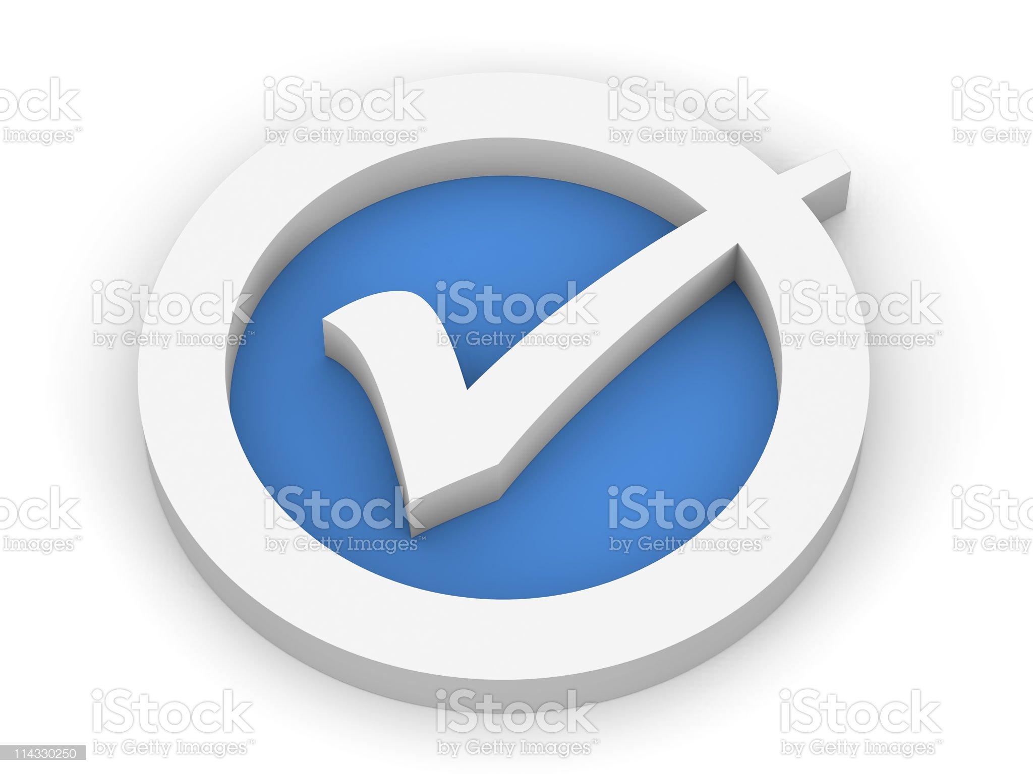 Blue Check Mark Symbol royalty-free stock photo