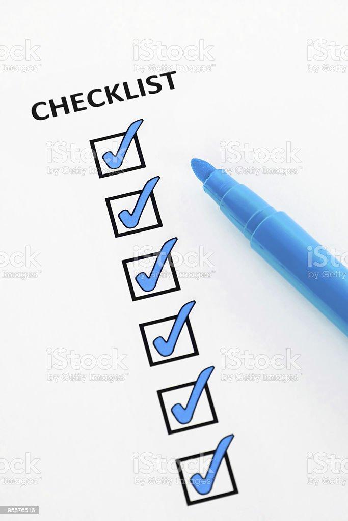 Blue checklist royalty-free stock photo