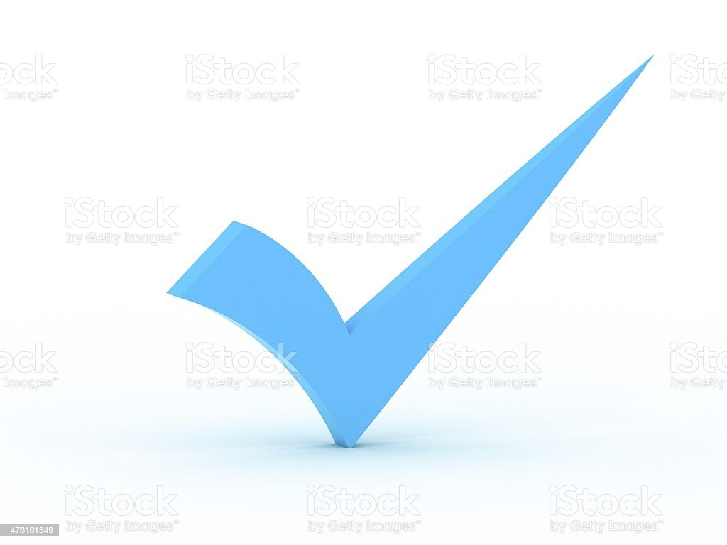 Blue checkmark stock photo
