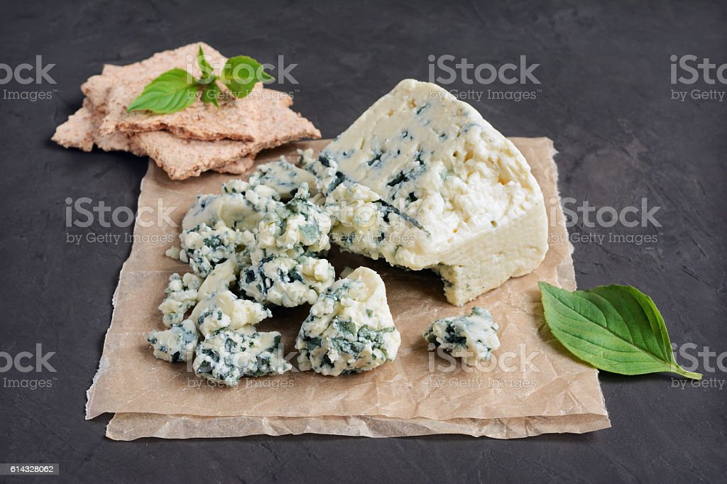 Blue cheese and basil stock photo