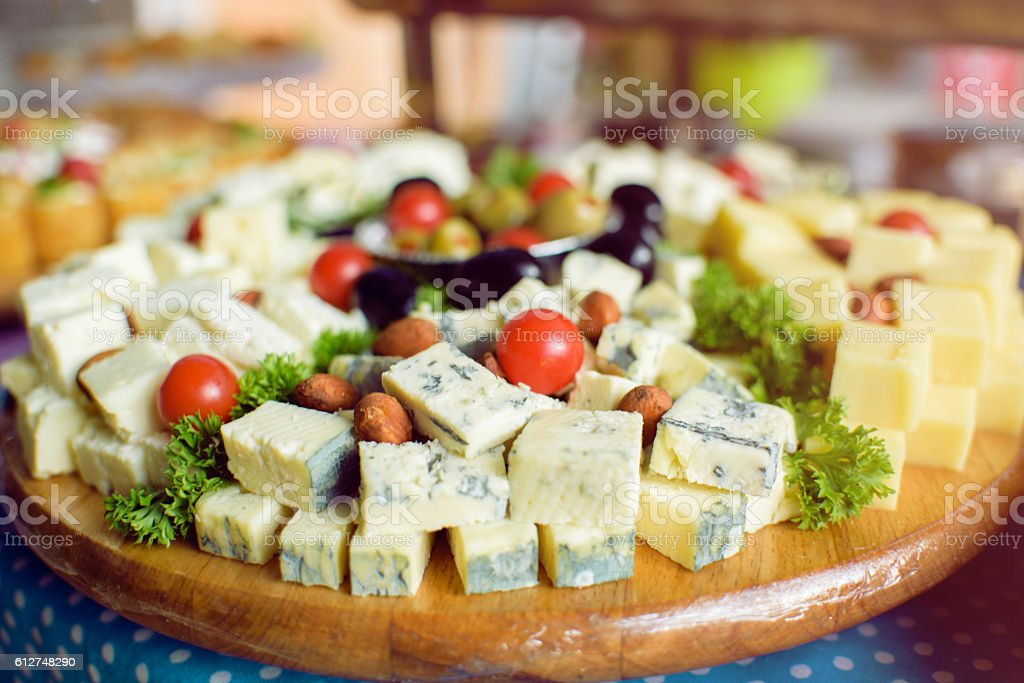 Blue cheese and catering food stock photo