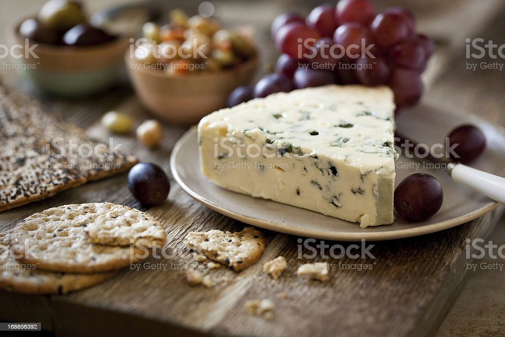 Blue Cheese and Crackers royalty-free stock photo