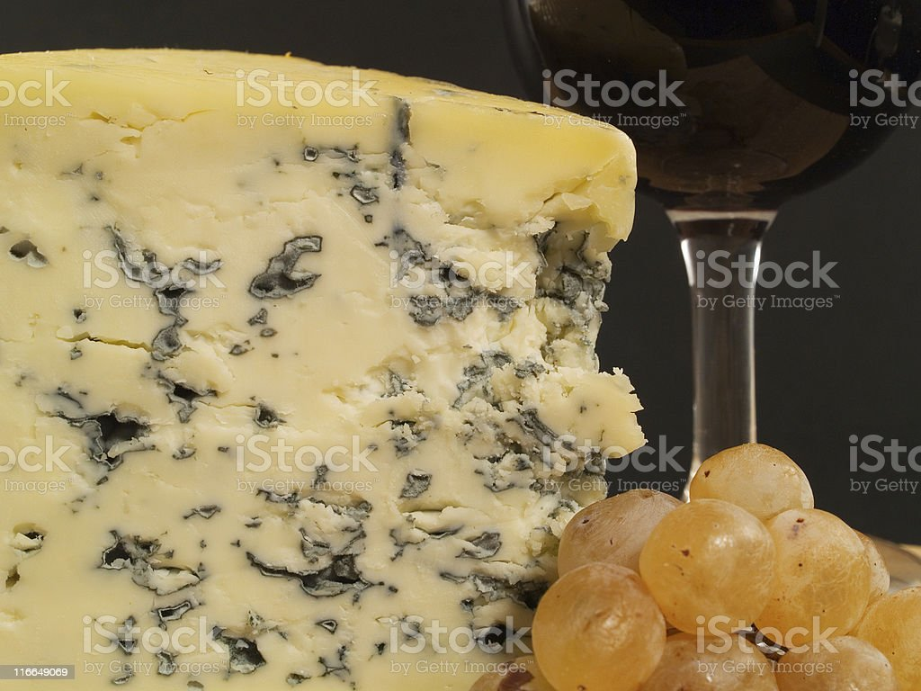 Blue Cheese And Wine on black stock photo