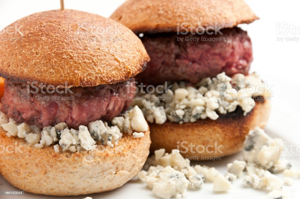 Blue Cheese Mini Burgers stock photo