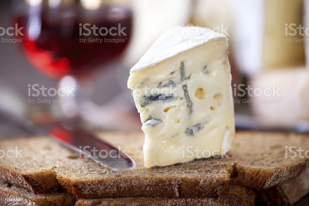 Blue cheese on a slice bread stock photo