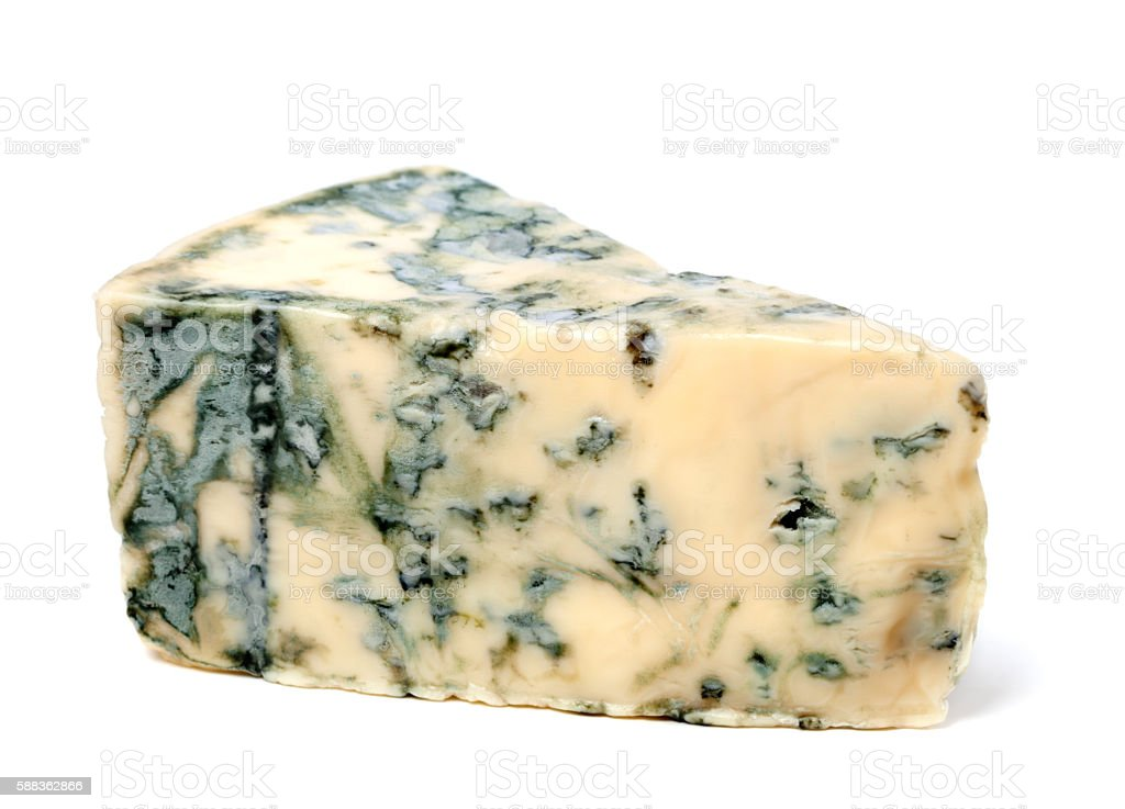 Blue cheese on white background stock photo