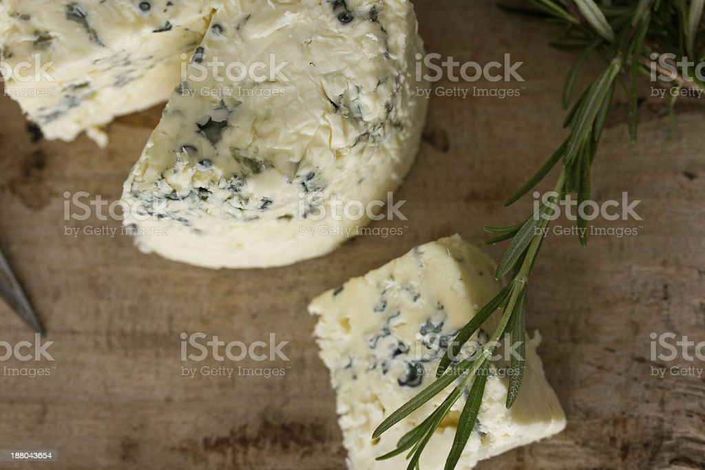 Blue cheese on wood table stock photo