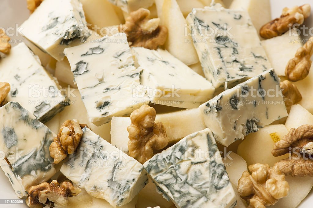 Blue Cheese pear nut stock photo