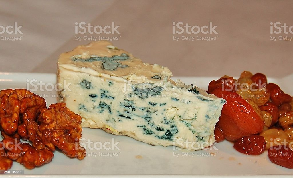 Blue cheese plate stock photo