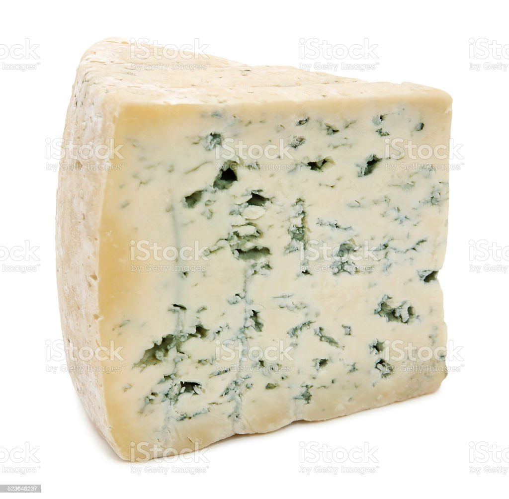 Blue cheese slice stock photo
