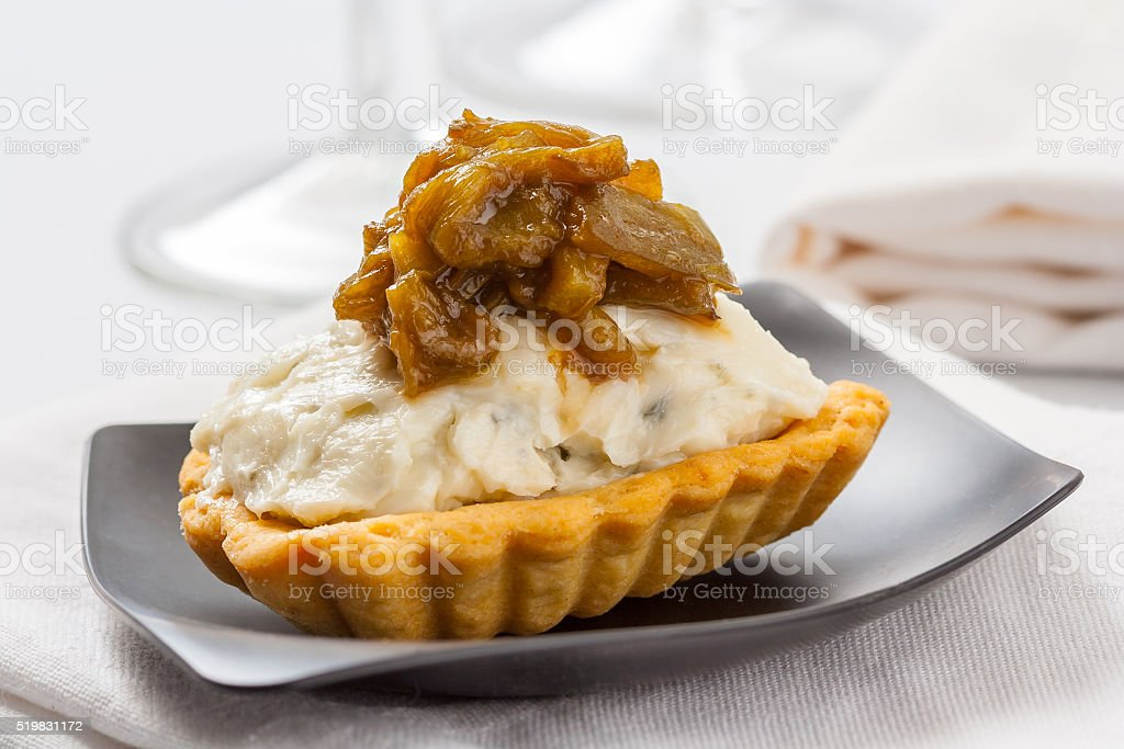 Blue cheese tartlet stock photo