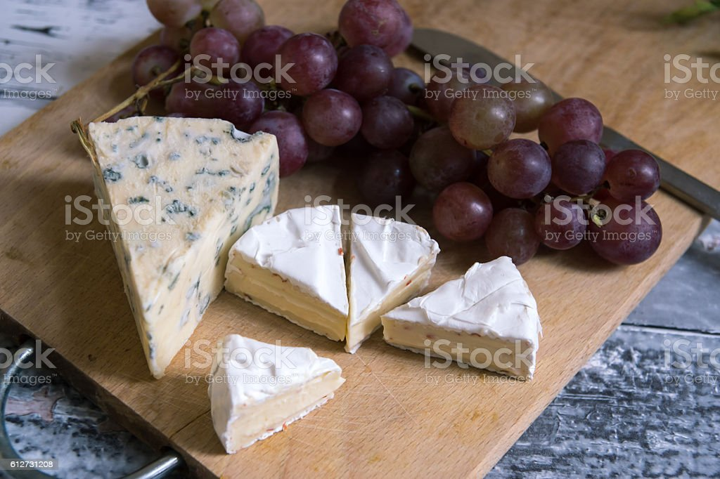 blue cheese with camembert stock photo