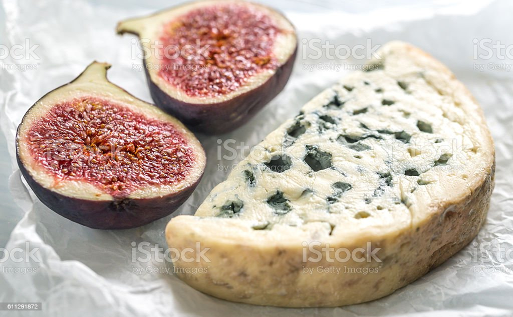 Blue cheese with fig stock photo