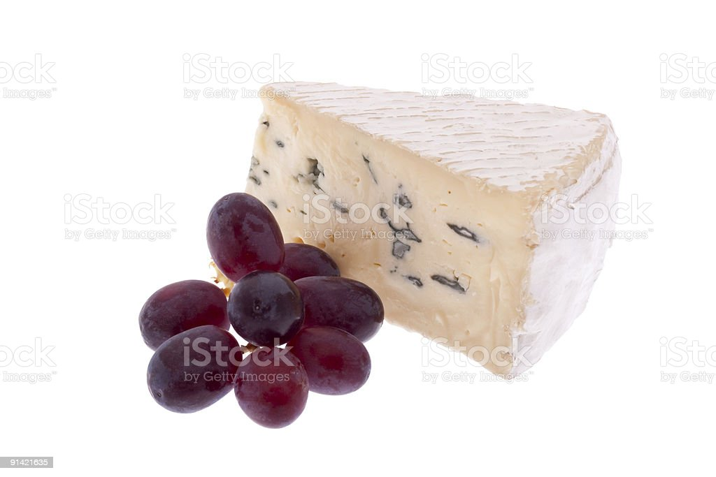 Blue cheese with grapes royalty-free stock photo