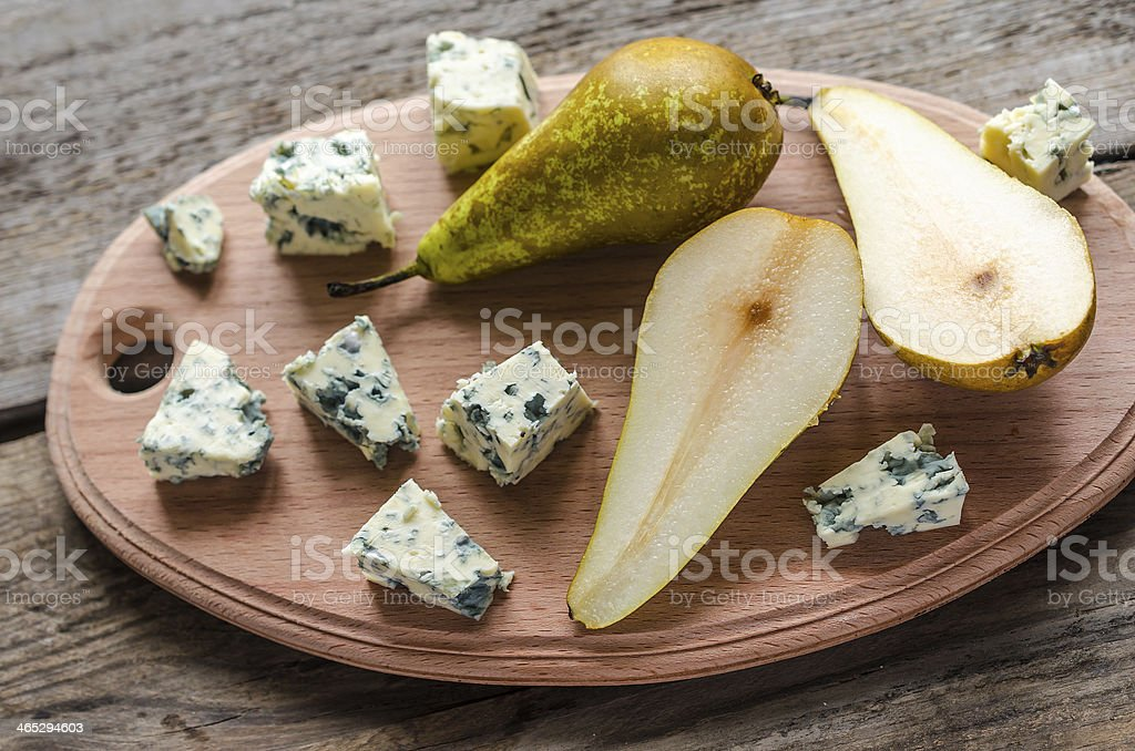 Blue cheese with pears stock photo