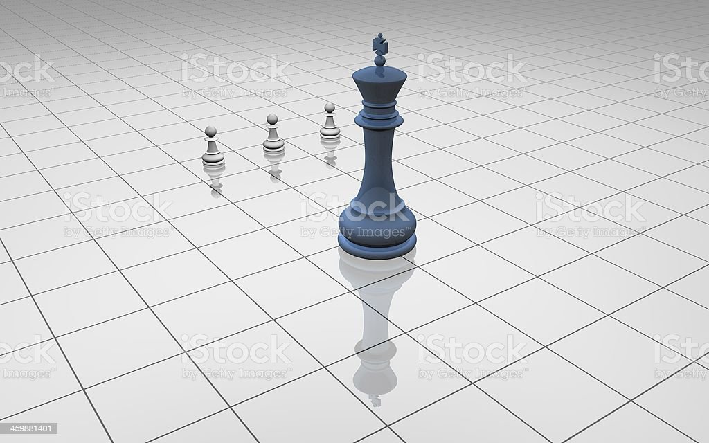 blue chess king with 3 pawns simple concept light illustration stock photo