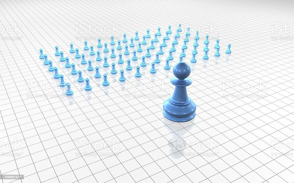 blue chess pawns group simple concept light illustration stock photo