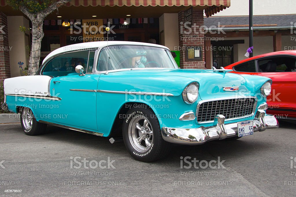 Blue Chevrolet 1955 Bel-Air coupe stock photo