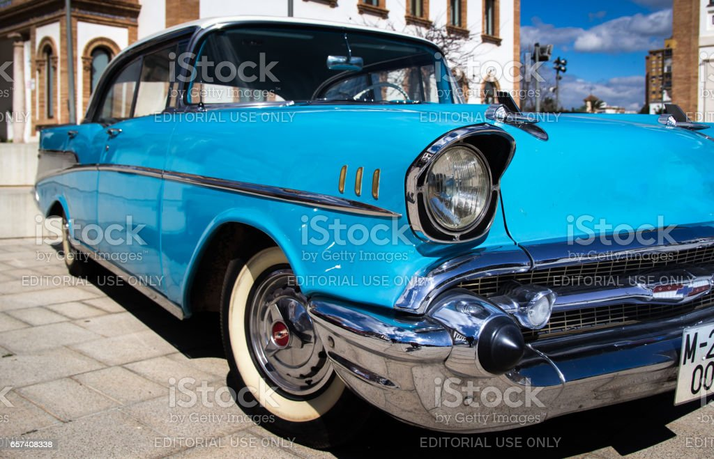 Blue Chevrolet bel air muscle car in an outdoor exhibition of classic cars stock photo