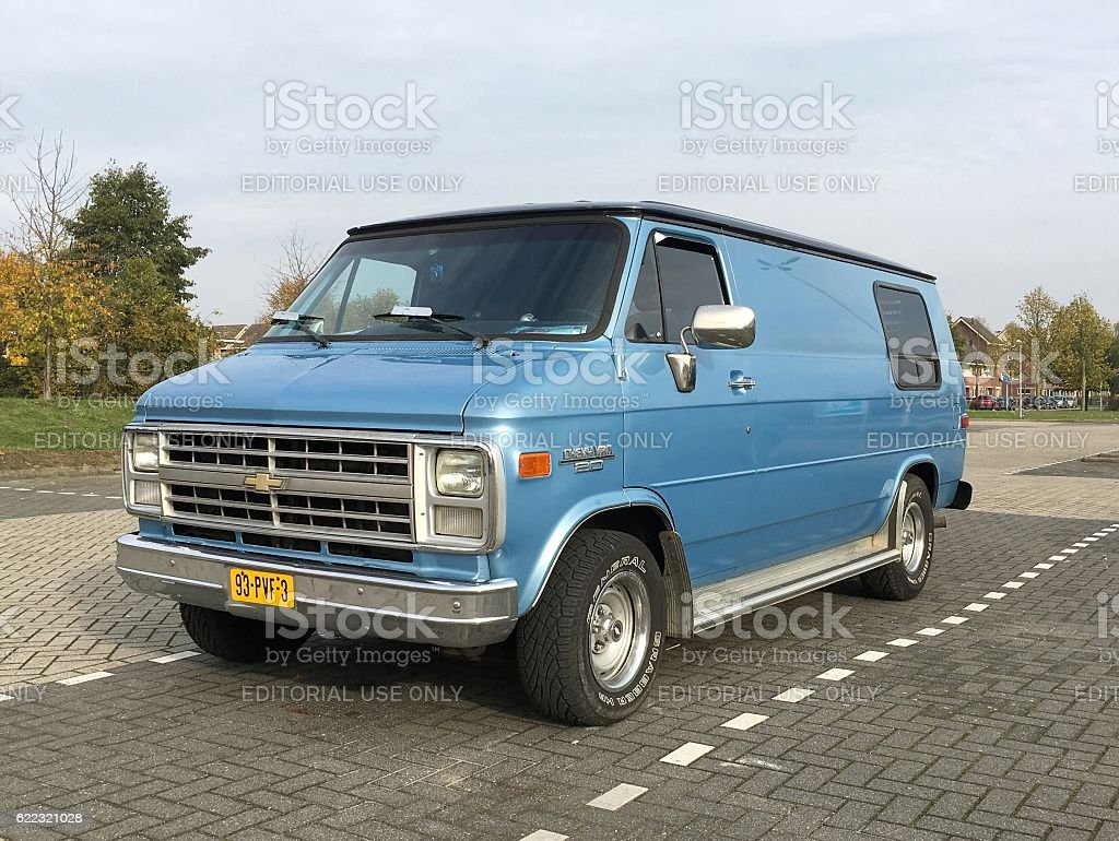 blue chevrolet chevy van 20 stock photo 622321028 istock. Black Bedroom Furniture Sets. Home Design Ideas