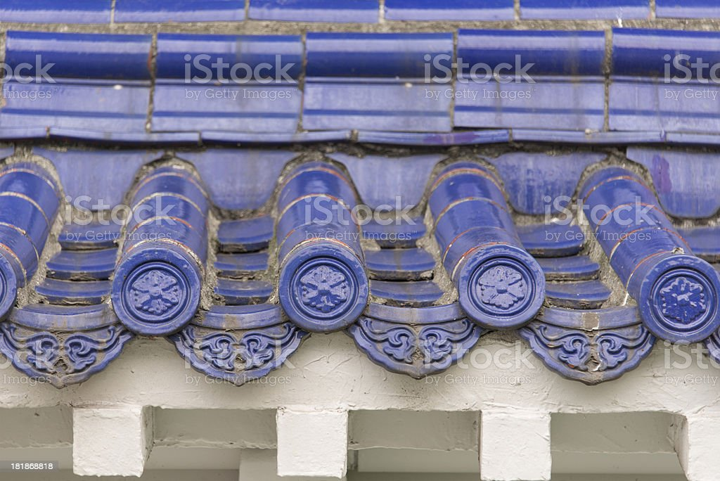 Blue Chinese Rooftiles stock photo