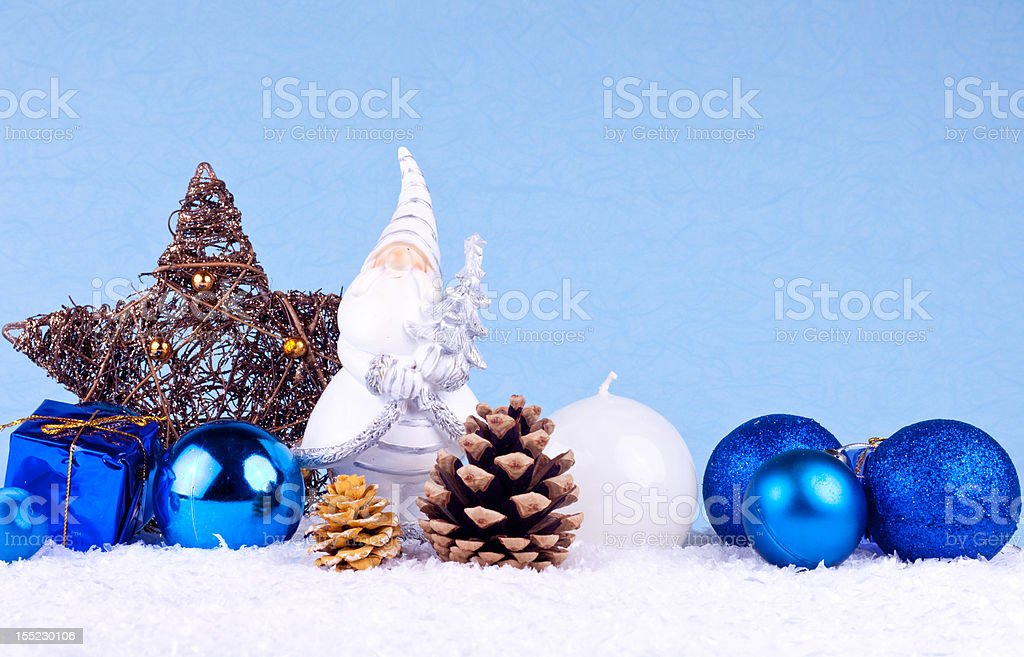 blue christmas background with santa clause figure royalty-free stock photo