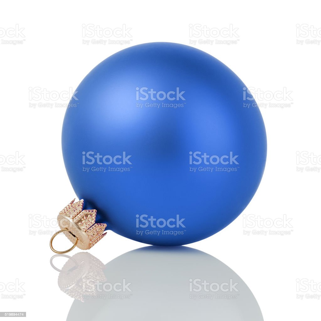 blue christmas ball isolated on white stock photo