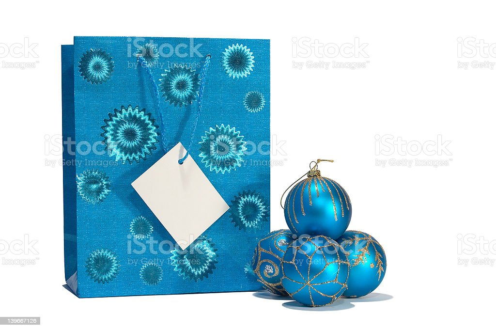 Blue christmas balls and gift bag royalty-free stock photo