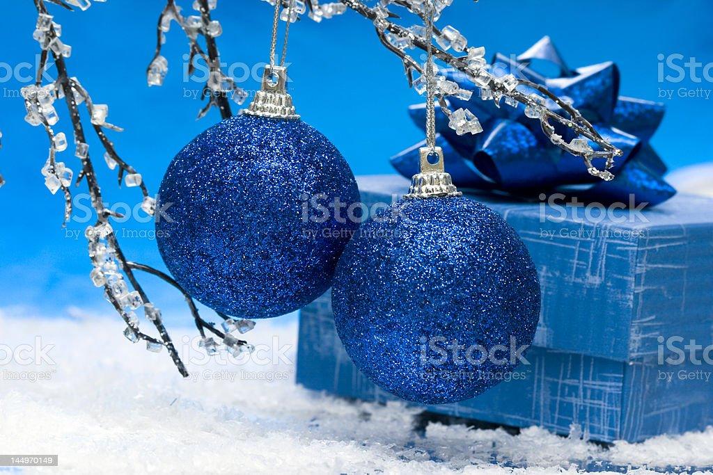blue Christmas balls and gift box royalty-free stock photo