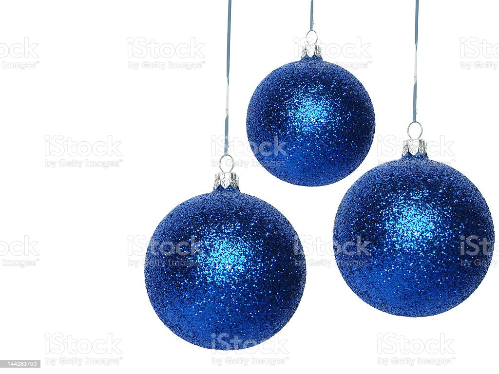 blue Christmas balls over white background stock photo