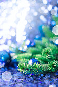 Blue Christmas bauble pine sparkling background
