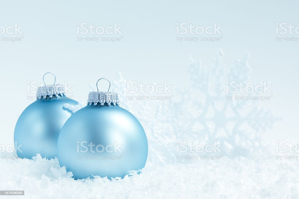 Blue christmas baubles and snowflake stock photo