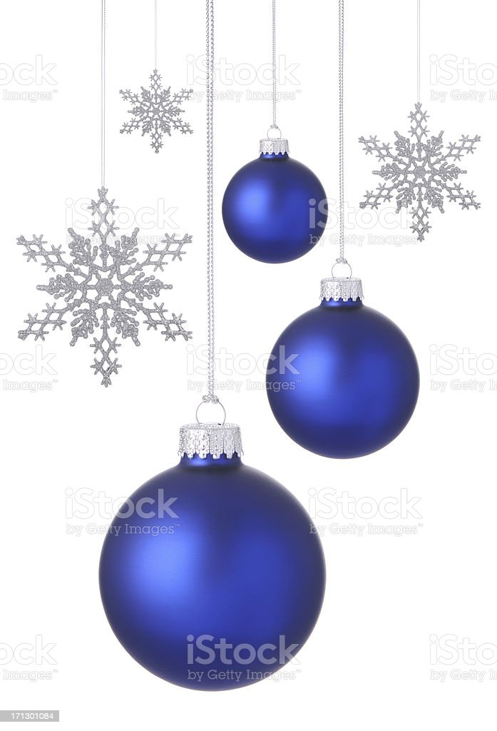Blue Christmas Baubles and Snowflakes. stock photo